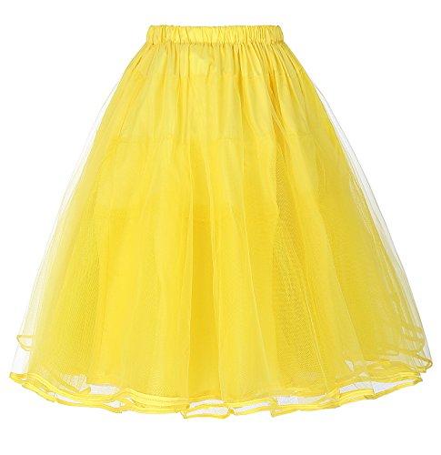 Miriñaque Falda Belle Vestido Tul 5 para Tutú Vintage Retro bp0229 Poque® Yellow Mujer Enaguas de Cancán WxxrnF0wU