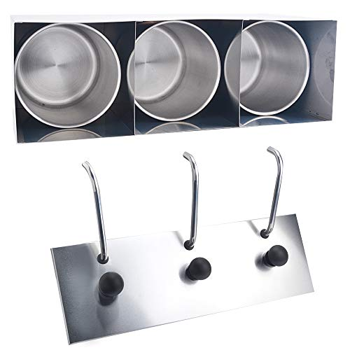 Welljoin 3 Bucket Sauce Dispenser Pump Squeeze Condiment Dispensing Stainless Steel by well join (Image #5)
