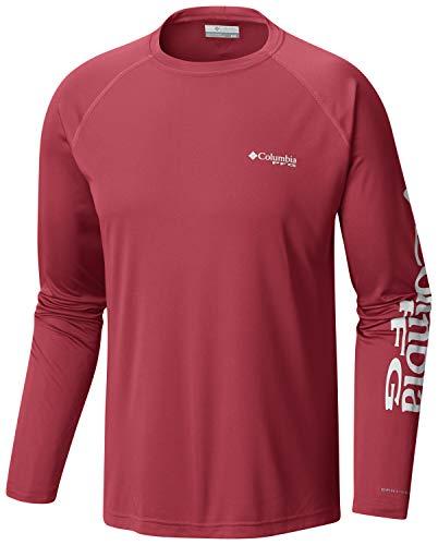 (Columbia Men's PFG Terminal Tackle Long Sleeve Tee , Sunset Red/White Logo, Medium)
