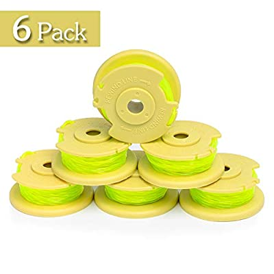 """FutureWay String Trimmer Replacement Spool Line 0.08"""" 18-Volt 24V 40V Compatible with Ryobi One Plus+ AC80RL3, Weed Eater String Autofeed Spool Line 11ft, Cordless Trimmer Edger Replacement (6 PCS)"""