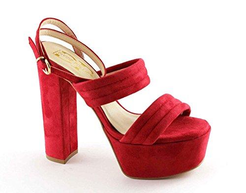 Locura divina 8857 sandalias de correa del talón rojo plateaux Rosso