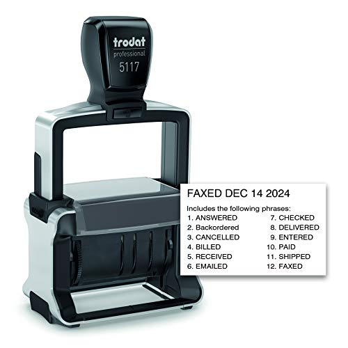Trodat Professional 12-Message Stamp, Dater, Self-Inking, 2 1/4 x 3/8, Black