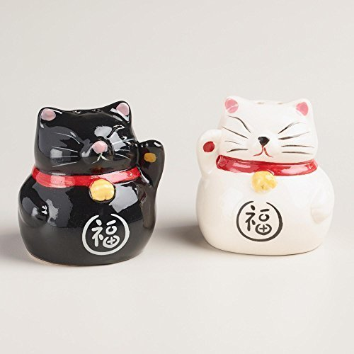 World Market Lucky Cat Salt and Pepper Shaker Set - Ceramic Condiment Shakers Kitchen Accessories | Table Countertop and Kitchen Décor | Perfect to Wrap | Black and White, Set of 2