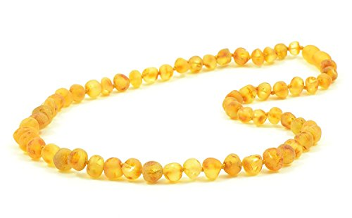 Amber Adult Necklace - Variuous Length - Raw Honey Color - Baltic Amber Land - Hand-made From Polished / Certified Baltic Amber Beads - Knotted - Screw Clasp (17.7, Raw Honey)