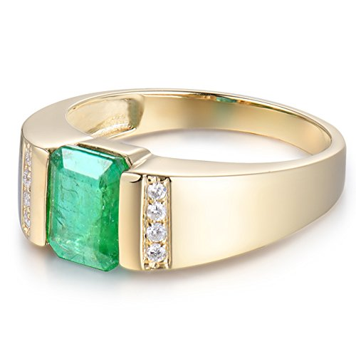 7617df930d545 Lanmi Men's Jewelry Genuine Vintage Emerald Ring with Natural Brilliant  Diamond 14k Yellow Gold Engagement Birthstone Band