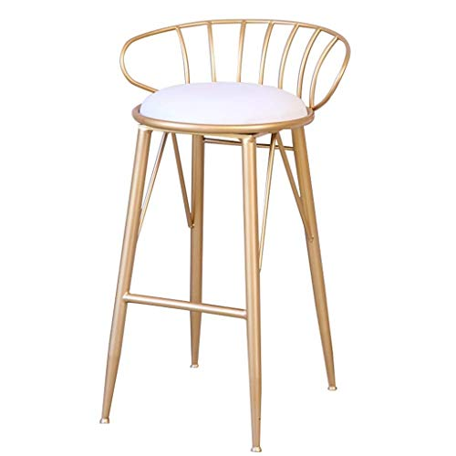 SZPZC 25'' Barstools Upholstered Footrest Round PU Seat Dining Chairs Breakfast Stool for Kitchen Pub Café Bar Stool Max. Load 440lb,with Metal Legs Bar Chairs (Color : Gold) 25' Outdoor Swivel Bar Stool