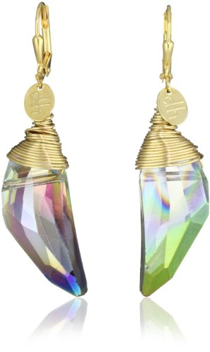 "Double Happiness Jewelry ""Sea Crystal"" Beach Jewel Crystal Gold-Filled Top Wrapped Earrings"