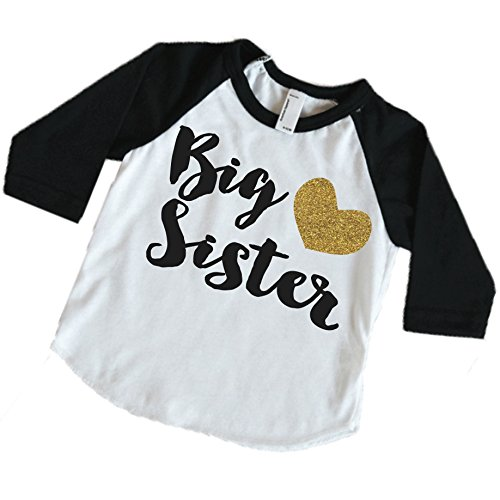 Baby Girl Clothes, Big Sister Shirt, Pregnancy Announcement Photo Prop (2T, Black Sleeves)