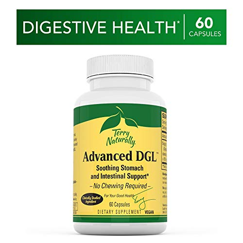 Terry Naturally Advanced DGL - 75 mg Licorice, 3.5% Glabridin - 60 Vegan Capsules - Soothing Stomach & Intestinal Support Supplement - Non-GMO, Gluten-Free - 60 Servings