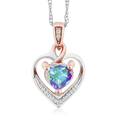10K White and Rose Gold Mystic Topaz and Diamond Heart Shape Pendant Necklace (0.56 cttw, With 18 inch ()