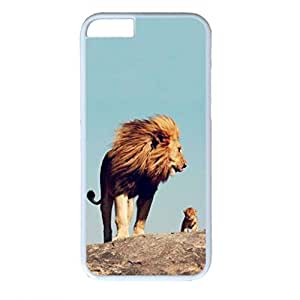 iPhone 6 Plus Case, iCustomonline Adorable Baby Lion With Father Protective Back Case Cover Skin for iPhone 6 Plus 5.5 inch - White