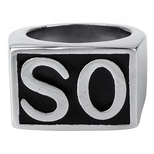 Oakky Jewelry Mens Stainless Steel Biker Rings  So  Vintage  Silver And Black  Size 8