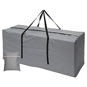 Maalr Bolsas de almacenamiento para exteriores, bolsa de jardín grande para cojín de viaje, funda ligera con cremallera, bolsa de jardín con asas impermeables, 210D Oxford (116 x 47 x 51 cm, gris)