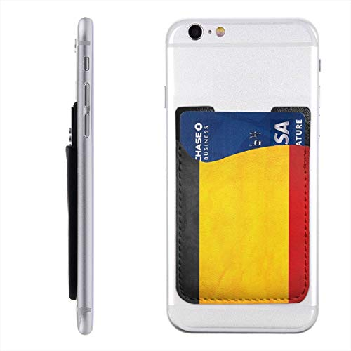 Belgium Flag Black Yellow Red Cell Phone Card Holder for Back of Phone Stick On Card Wallet Sticker ID Credit Card Wallet Phone Case Pouch Sleeve Pocket Compatible for iPhone/Android/Samsung Galaxy