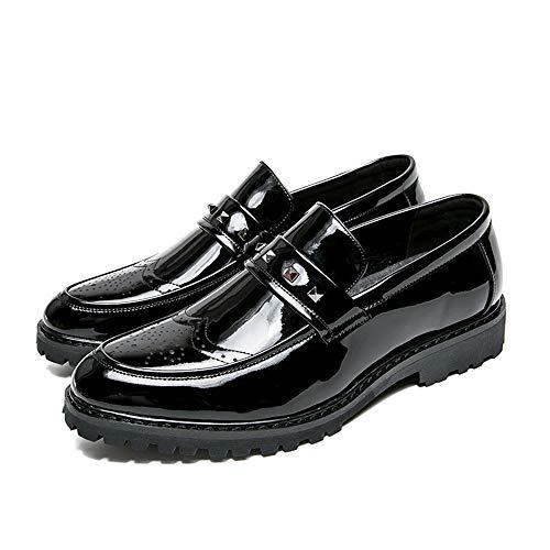 men's Negro Oxford Los Hombres Business Rivet Fashion Xhd Con Zapatos Shoes Charol Antideslizantes Personalidad De Gruesos Remachados g0wIqHd
