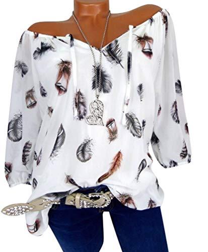 Chemise Size Imprime Shirt Vrac Blouse Xinwcang Manches Plus Shirt Femmes Blanc Casual Bretelles Longues Pull Top Lache sans T wPYqzT