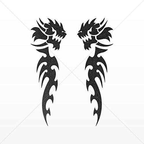 Decals Decal Pair Of Dragons Decoration Waterproof Racing Vehicle Tabl Mettalic Black (40 X 13.3 In)