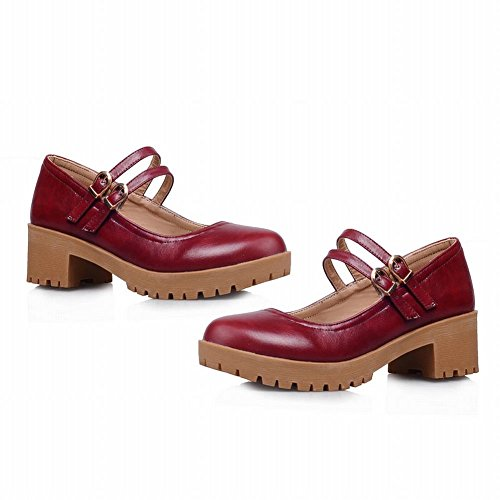 Carolbar Women's Western Charm Mid Heel Platform Mary Jane Shoes Red TUOEqgYkdr