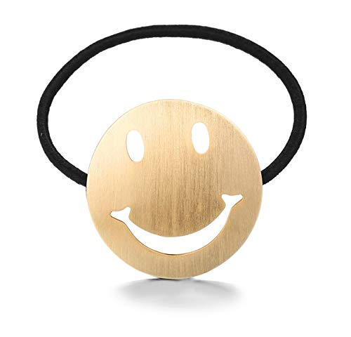 Creative fashion hair ring (Golden smiley face) by Blingstore Women Hair Rings (Image #1)