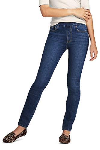 Lands End Tall Jeans - Lands' End Women's Mid Rise Pull On Skinny Blue Jeans, 6 32, Heron Blue