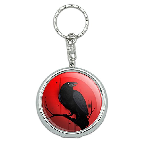 GRAPHICS & MORE Crow on Branch Portable Travel Size Pocket Purse Ashtray Keychain with Cigarette -