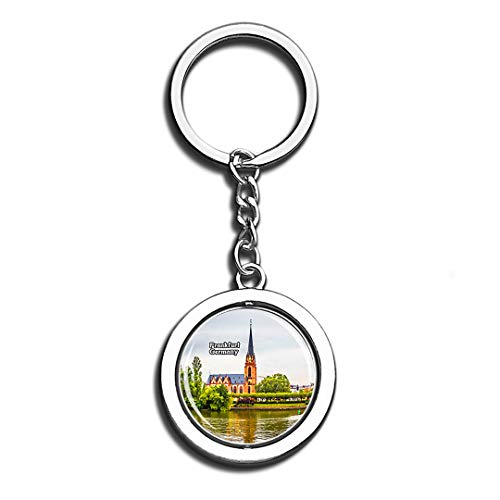 Frankfurt Cathedral Germany Beauty 3D Crystal Creative Keychain Spinning Round Good Stainless Steel Key Chain Ring Travel City Souvenir Collection