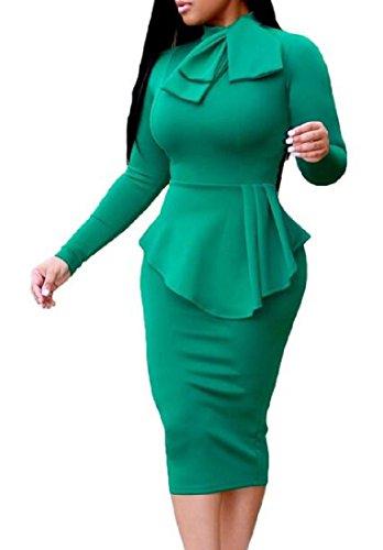 Coolred-femmes Col Ras Du Cou Moulantes Couleur Pure Moulante À Long Vert Robe À Manches
