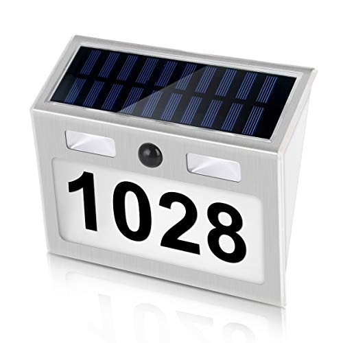 SOONHUA Solar House Number Plaque, Address Numbers for Houses with Solar Motion Sensor Light Outdoor Waterproof,Wall Mount,Auto on/Off Customized Letter and Numbers for Door Fence Mailbox (Number Light Solar House)