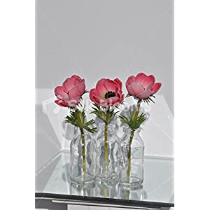 Pink Anemones in Glass Bottles Floral Arrangement 49