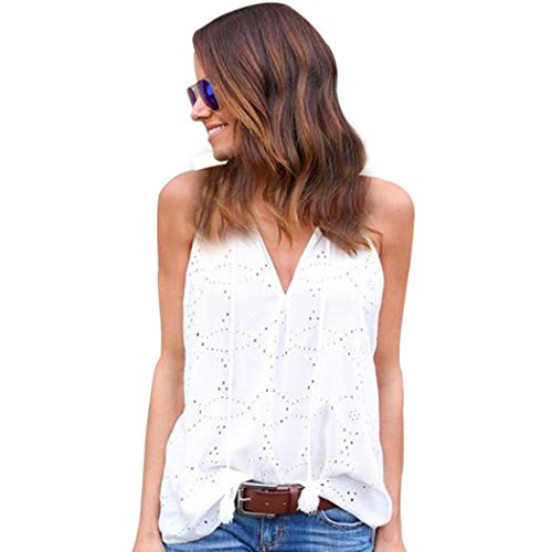 Realdo Clearance Sale Women Crewneck Pullover Solid T-Shirt Sleeveless Casual Blouse(White,Small)