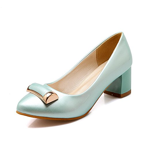 Closed Pumps Women's Toe Solid Heels Shoes On Pointed Kitten WeenFashion Pull Blue xzUwZz