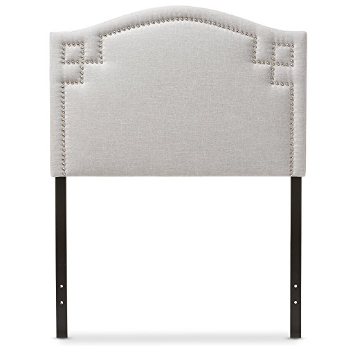 Baxton Studio Aure Modern and Contemporary Kids Bedroom Greyish Beige Fabric Upholstered (Bedroom Fabric Headboard)