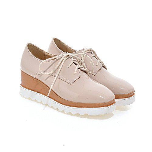 toe Lace Women's 3 up Brogues Oxford Shoes Beige square Hecater Wedge qUftEtw