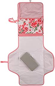 Tapete de viagem portátil para troca de fraldas Laura Ashley, estojo de lenços incluído, estampa rosa