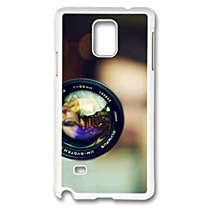 Galaxy Note 4 Case, Creativity Design 55Mm Olympus Camera Lens Ideas Print Pattern Perfection Case [Anti-Slip Feature] [Perfect Slim Fit] Plastic Case Hard White Covers for Samsung Galaxy Note 4