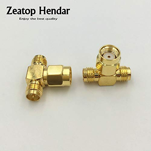 Gimax 1 Pcs Brass Triple 3 Way T Type RP-SMA Male to 2 RP-SMA Female Connector Splitter RF Adapter Coaxial Adaptor