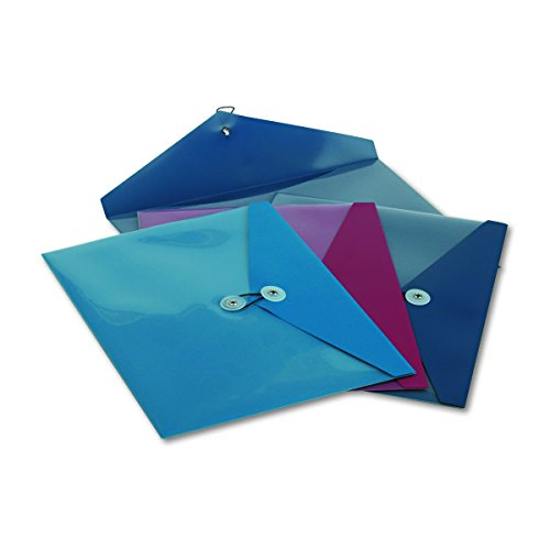 Pendaflex 90016 Poly Booklet Envelope, Side Opening, 12 1/2 x 9 1/4, 3 Colors, Pack of 4