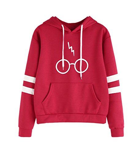 Con Manica Hoodies Potter JackenLOVE Rosso Cappuccio Stampare Sweatshirt Donna Felpa laser Cappotto Lunga Harry Occhiali Giacca Gli nY5xF5qwS