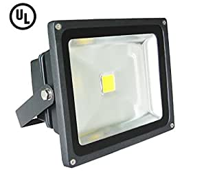 UL Listed- 20W LED Flood Light, 5000K Cool White, 1800 Lumens, Outdoor Security Light, Waterproof IP65, Super Bright, ROHS Compliant, Bridgelux LED
