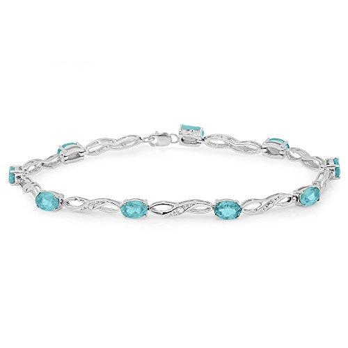 Dazzlingrock Collection Real Oval Genuine Blue Topaz & Round White Diamond Ladies Link Bracelet, Sterling Silver