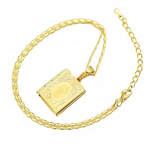 Jerrial Islam DIY Quran Photo Box Necklaces Arabic Gold Plated Pendant Religion Necklace Gift