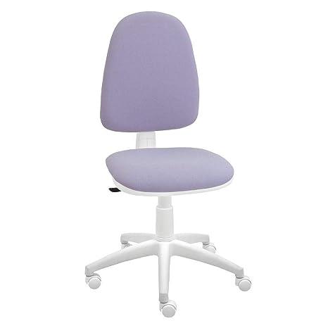 Silla giratoria Blanca de Oficina y Escritorio, Modelo Torino, diseño 100%  Blanco ergonómico con Contacto Permanente (Malva)