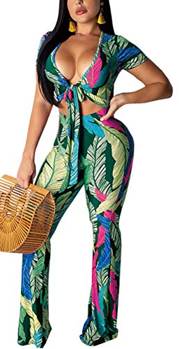 Women's Sexy 2 Piece Outfits V-Neck Crop Top and Wide Leg Long Pants Jumpsuits Set Green ()
