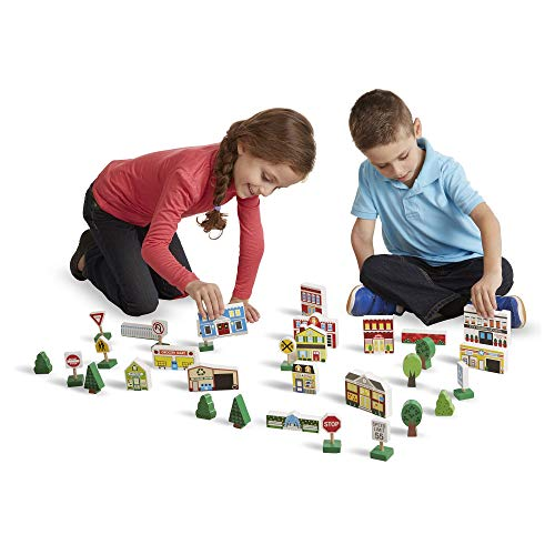 Melissa & Doug Wooden Town Play Set (Vehicles, Wooden Streetscape, Sturdy Wooden Construction, Storage Tray, 32 Pieces, Great Gift for Girls and Boys - Best for 3, 4, 5 Year Olds and Up)