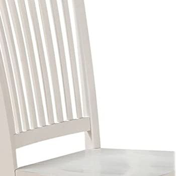 East West Furniture WEC-WHI-W Wood Seat Dining Chair Set with Slatted Back, Linen White Finish, Set of 2