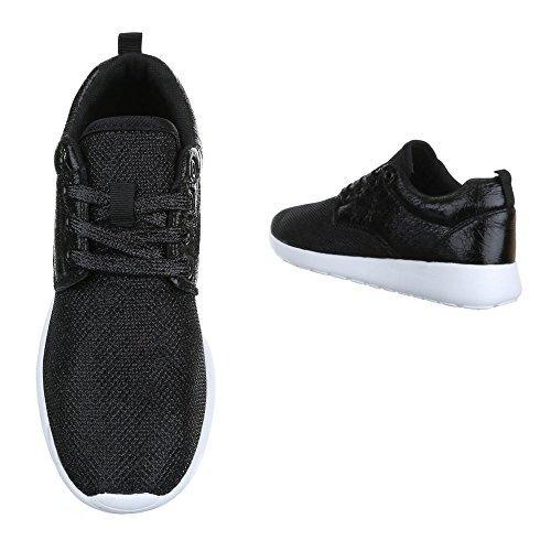 Design Top Low Schnürsenkel Schwarz Ital Freizeitschuhe Sneakers Damenschuhe R 1 Low Sneaker 100 Top dEfXxBX