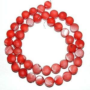 Steven_store CRL279 Red Bamboo Coral 9mm - 10mm Freeform Flat Round Nugget Coin Beads 16