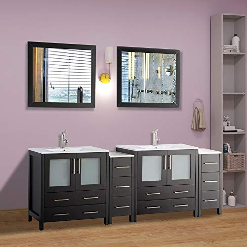Vanity Art 84 inch Double Sink Modern Bathroom Vanity Set with Compact -