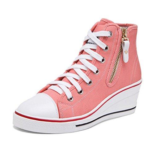 as Rosa Mauea Hebilla Zapatos Cu Lona Encaje Casuales Lateral Top Mujer Cremallera Tama De Zapatos o 35 High 43 q1WI1U
