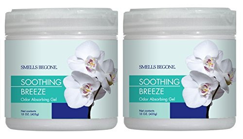 Smells Begone Air Freshener Odor Absorber Gel - Absorbs and Eliminates Odor in Pet Areas, Bathrooms, Cars, Boats - Made with Natural Essential Oils - 2 Pack (15 Ounce) (Soothing Breeze Scent 2 Pack)
